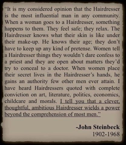 comment on hairdressers Steinbeck